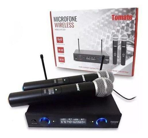 Imagem de Microfone Duplo S/ Fio Profissional Uhf Digital 60m Wireless - Tomate