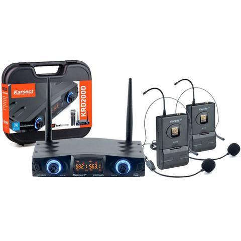 Imagem de Microfone Headset sem Fio Duplo Karsect KRD200DH UHF 16 Frequências por Canal - Bivolt