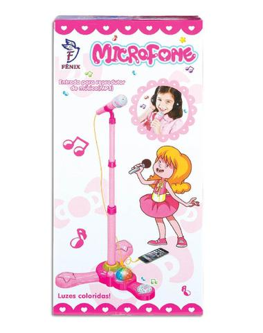 Imagem de Microfone Infantil Com Pedestal Meninas Rosa Entrada MP3 - Fênix