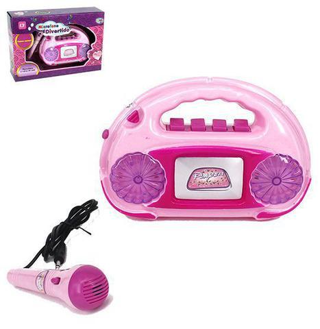 Imagem de Microfone infantil karaokê caixa de som com luz e acessórios