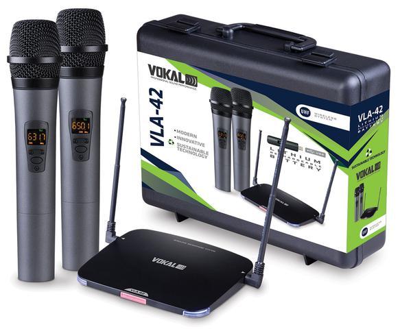Imagem de Microfone Sem Fio Duplo de Mão Vokal VLA42 Recarregavel Uhf