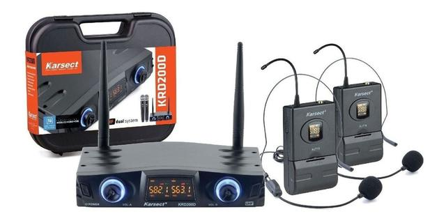Imagem de Microfone  sem Fio Duplo Headset  Karsect KRD200 DH auricular