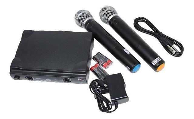 Imagem de Microfone Sem Fio Duplo Mao Uhf Jwl Profissional + Maleta