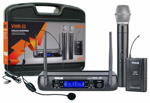 Imagem de Microfone Sem Fio Mão + Lapela Vokal Vwr 25 Uhf Profissional