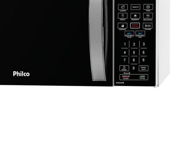 Imagem de Microondas 25 Litros Philco PMO26PB Menu Fit Preto com Branco 110v