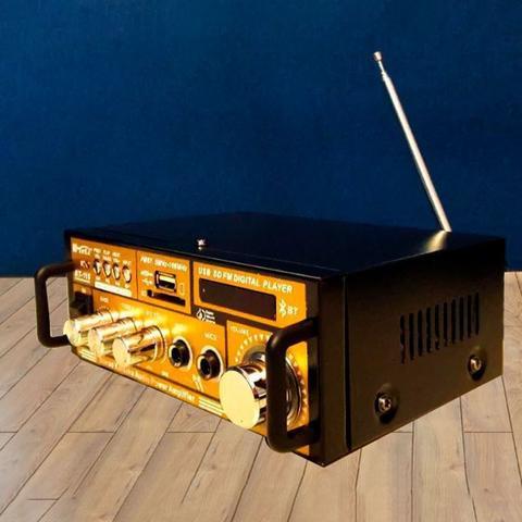 Imagem de Mini Amplificador com Bluetooth - Karaokê Stereo Áudio Mp3 / USB / SD / FM Digital Player