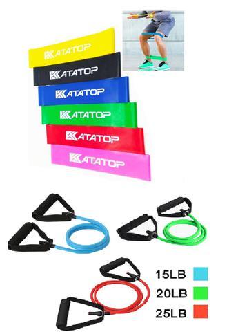 Imagem de Mini Band Com 6 Faixas + Kit Elásticos Extensores 3 Níveis Pilates Fisioterapia Exercícios