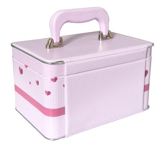 Imagem de Mini Box Maleta 360 fotos 10x15 - 3 álbuns fotográficos - Minha Princesa Bebê Newborn Rosa Coroa