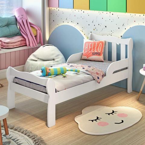Imagem de Mini Cama Infantil com Proteção Lateral Bella Carolina Baby Branco Brilho