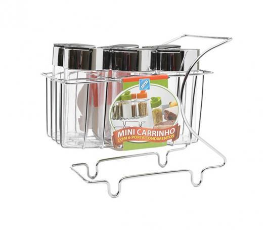 Imagem de Mini Carrinho Com 6 Porta Condimentos Cromado - Arthi