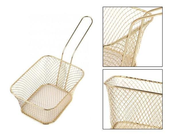 Imagem de Mini Cesto P/ Fritura Dourado Servir Porções Quentes Batata Frita