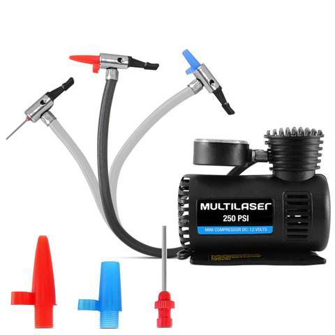 Imagem de Mini Compressor De Ar Automotivo Multilaser Au601 12V 3 Adaptadores Pneus Moto Carro Bicicleta Bolas