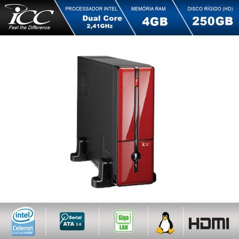 Imagem de Mini Computador ICC SL1840S2V Intel Dual Core  2.41 ghz 4gb HD 250GB HDMI USB 3.0 FULL HD Vermelho