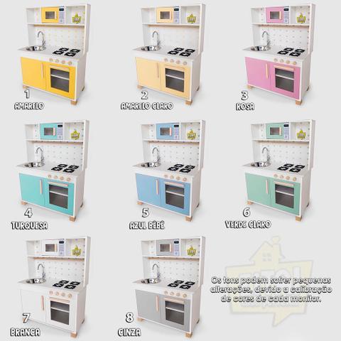 Imagem de Mini Cozinha Mdf Infantil Completa Com Geladeira Rosa