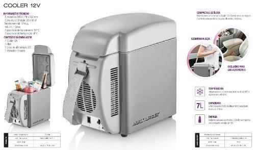 Imagem de Mini Geladeira Cooler Multilaser Automotivo 7 litros 12V