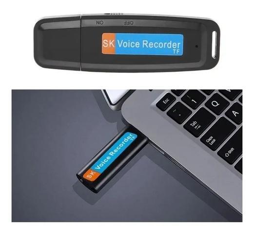Imagem de Mini Gravador De Voz Espião Pendrive Discreto Aceita + Cartão de Memória 32gb
