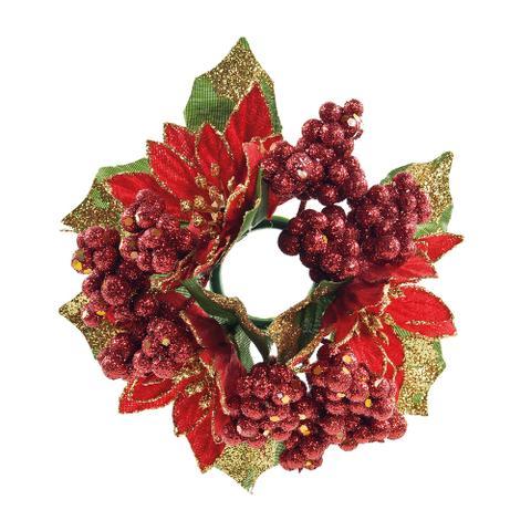 Imagem de Mini Guirlanda Natal Enfeite Flores e Bolinhas Vermelha 15cm