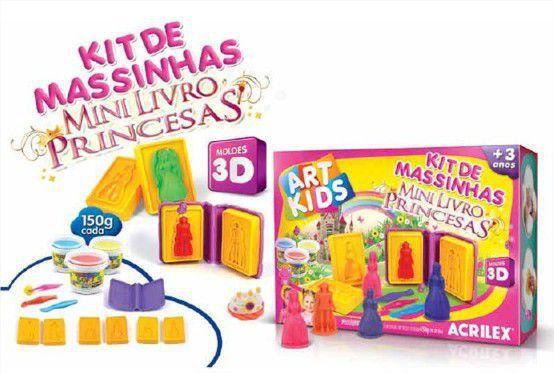 Imagem de Mini Livro 3D Princesas com Massinha, Moldes e Cortadores 450g Acrilex