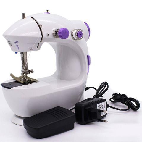 Imagem de Mini Máquina Costura Portátil Eletrica Pilha Luz Led Bobinas