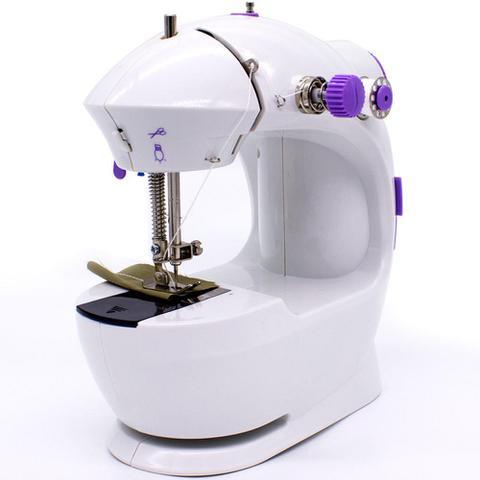 Imagem de Mini Máquina de Costura Portátil Elétrica Bivolt Pilha Luz Led Compacta Doméstica