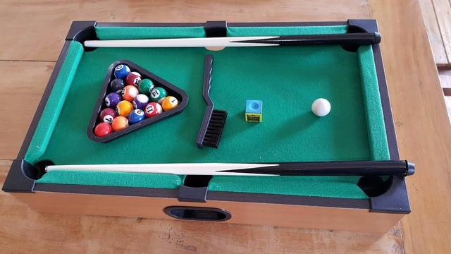 Imagem de Mini Mesa Em Madeira De Bilhar Sinuca Snooker Western Games