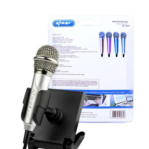 Imagem de Mini Microfone Estéreo P2 Kp-907 Knup Celular Câmeras Gravador Pc Notebook Prata