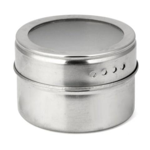 Imagem de Mini Porta Condimentos e Temperos Magnetico em Aço Inox com Imã com Base 4 Peças