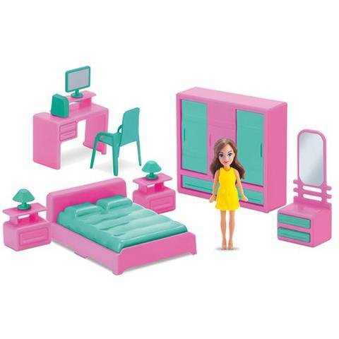 Imagem de Mini Quarto Infantil 8 pçs com boneca - Judy Home - Samba Toys