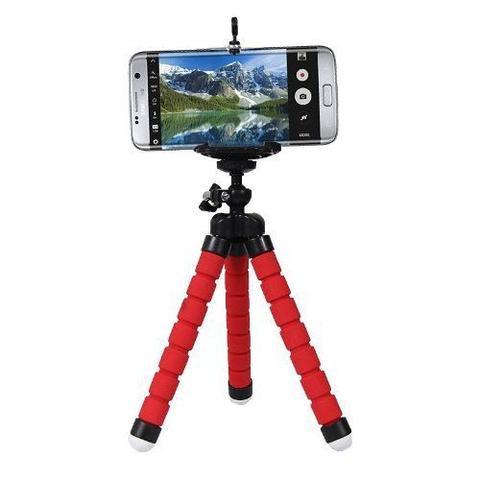 Imagem de Mini Tripé Flexível Ajustável Regulador Móvel Para Celular Vermelho