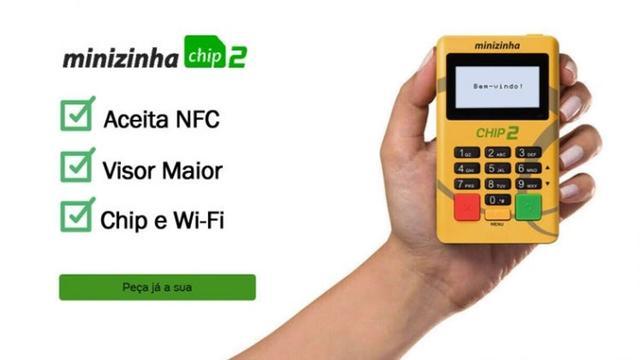 Imagem de Minizinha Chip 2  Aceita Débito, Crédito e Refeição 3G Sem aluguel Conexão Wifi + CHIP Pag-seguro