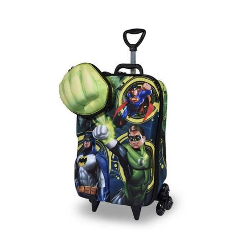 Imagem de Mochila 3D com Rodinhas e Lancheira  Liga da Justiça Lanterna Verde