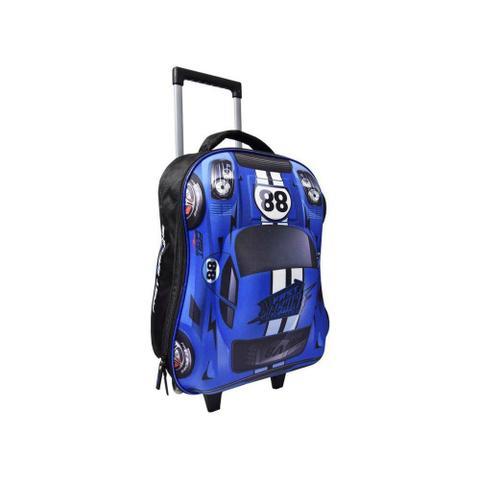 Imagem de Mochila Azul Carro Fast Machine 3D com Rodinhas Clio Style - Azul