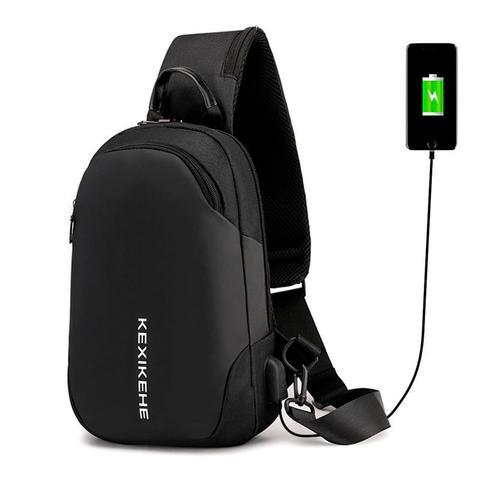 Imagem de Mochila Bolsa Mala Transversal Anti Furto Cross Body USB Tablet Notebook Alça Única