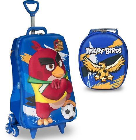 Imagem de Mochila Escolar 3D com Rodinhas e Lancheira MaxToy Angry Birds Futebol