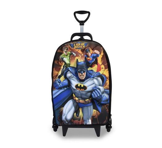 Imagem de Mochila Escolar 3D com Rodinhas e Lancheira MaxToy Liga Da Justiça Batman