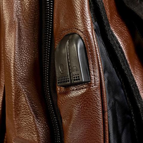 Imagem de Mochila Executiva Masculina Couro Notebook Encaixe USB 25 Litros Marrom