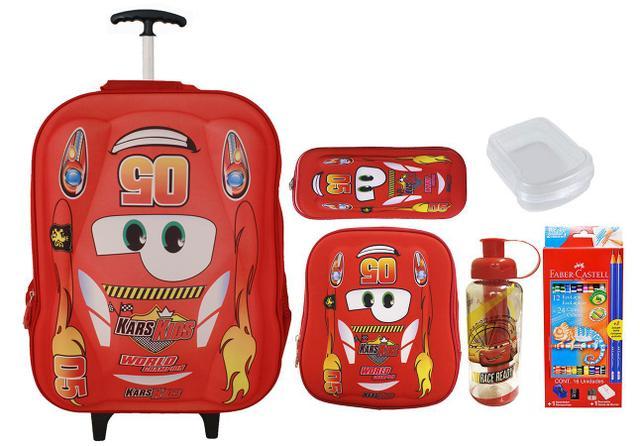 Imagem de Mochila Rodinhas Escolar Infantil Carros 5005  Kit Vermelho