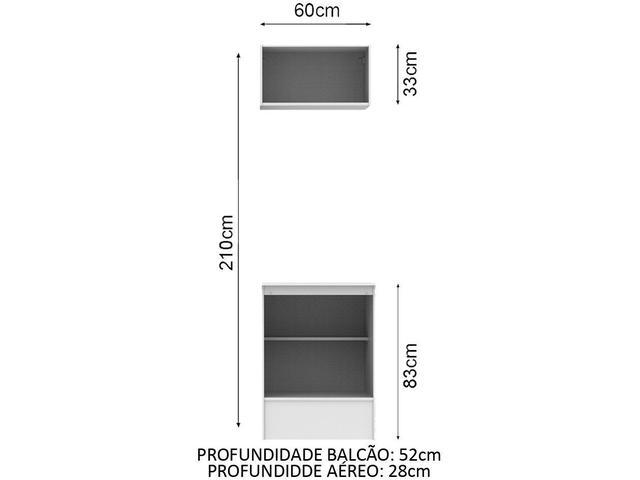 Imagem de Módulo de Armário Aéreo Madesa Topázio 2 Portas