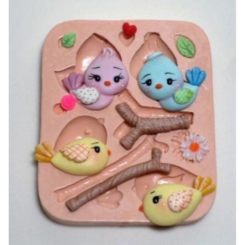 Imagem de Molde de silicone passarinhos para decorar f361