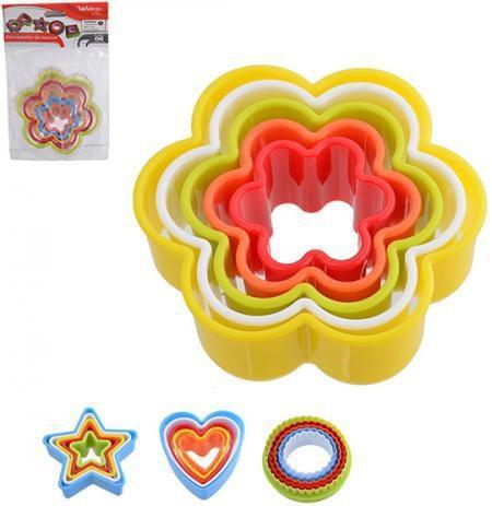 Imagem de Moldes Cortadores de Biscoito Massa Pasta Formato de Flores 5 Peças