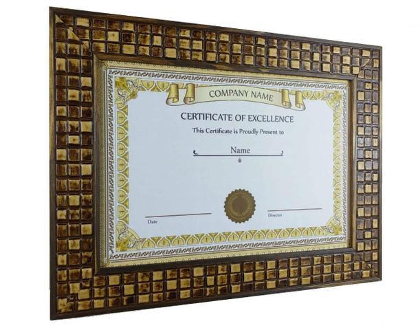 Imagem de Moldura Nobre Luxo Com Vidro Diploma Certificado A4 21X30 Mosaico
