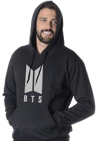Imagem de Moletom BTS Masculino com Capuz Bolso Canguru Blusão estampado PRATA