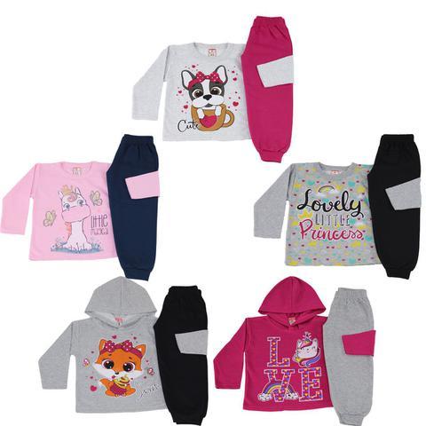 Imagem de Moletom Infantil Menina Menino Lote De Roupas Para Bebês Kit 5 Conjunto