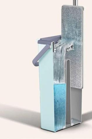 Imagem de Mop Flat Tira Pó Esfregão Com Balde Lava E Seca Mopwash + Refil Extra Microfibra