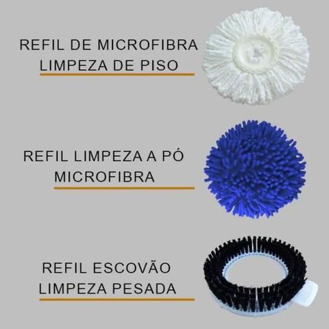 Imagem de MOP Perfect Pro Giratório 360 Balde com 3 Tipos de Refis Microfibra Cabo Esfregão Cesto Inox 972367