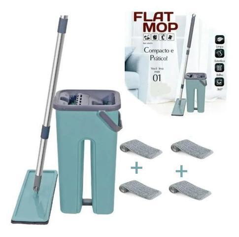 Imagem de Mop Rodo Tirá Pó Esfregão Com Balde Flat Wash And Dry + refil extra