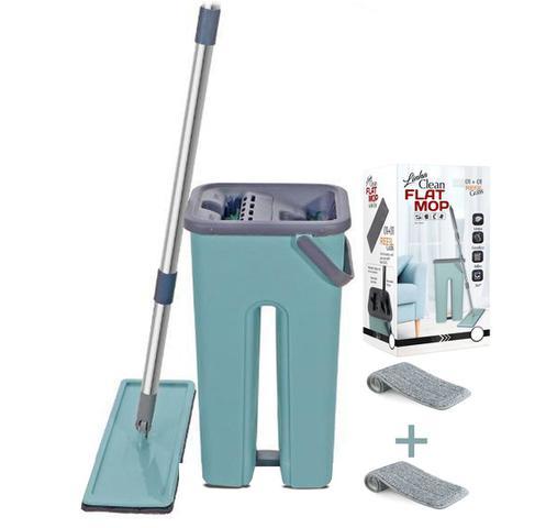 Imagem de Mop Rodo Tirá Pó Esfregão Com Balde Flat Wash And Dry + refil