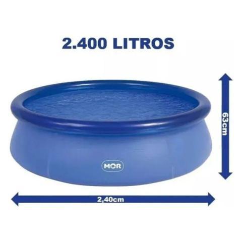 Imagem de Mor Piscina Inflável Redonda 2400 Litros Resistente Grande 2.40x2.40 Metros