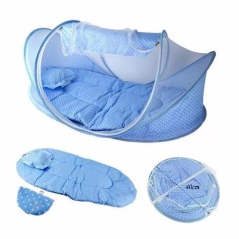 Imagem de Mosquiteiro Infantil Berço Portatil Tenda Cercadinho Musical Com Travesseiro Menino E Menina Azul