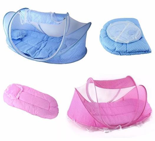 Imagem de Mosquiteiro Infantil Berço Portatil Tenda Cercadinho Musical Com Travesseiro Menino E Menina